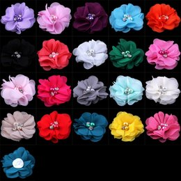 """$enCountryForm.capitalKeyWord Australia - (30pcs lot)2"""" 20 Colors Mini Chiffon Flowers With Pearl Rhinestone Center For Hair Clips Lace Flower For Kids Hair Accessories"""
