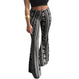 de23e7887d11 Boho Women Bell Bottoms Trousers Floral Printed High Waist Stretch Flare  Pant Soft Women Casual Wide Leg Pants