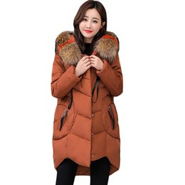 loose parka UK - 2018 Fur Collar Big Size 5XL Women Winter Hooded Coat Female Outerwear Parka Ladies Warm Long Jacket Loose Jaqueta Feminina D473
