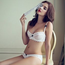 a4dfbb67a Free shipping fashion summer sexy lace white ultra-thin bra breathable  gauze deep V-neck women s push up underwear set plus size