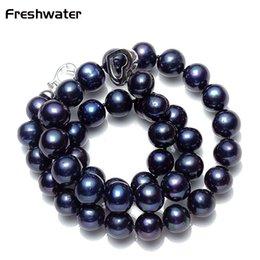 $enCountryForm.capitalKeyWord Canada - High Quality Pearl Necklace 8-9MM Black Pearl Necklace Natural freshwater Choker for Women Classic Jewelry