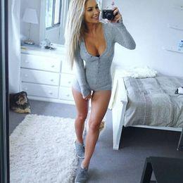 Plus Size V Neck Jumpsuit Australia - Sinfeel Sexy Women Casual Bodysuits V-Neck Body Suit Female Jumpsuits Romper Overalls Button 2017 Summer Fashion Plus Size S1012