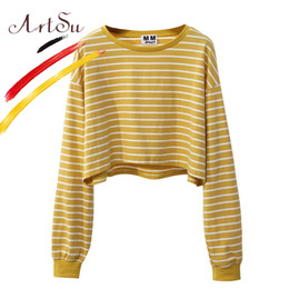 $enCountryForm.capitalKeyWord UK - Korea Sweet Women Crop Top Harajuku Long Sleeve Striped Top T Shirt 2017 Girl's Autumn Loose T-Shirt Streetwear ASHO20085