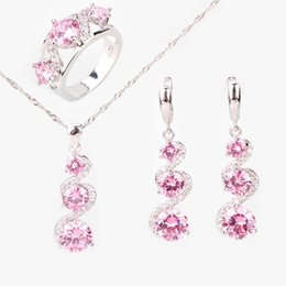 mix colors stones necklace 2019 - ostume bridal jewelry sets Round Pink Zircon 925 Sterling Silver Jewelry Sets Women Earrings With Stones Pendants&Neckla