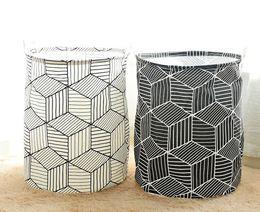 Folded Laundry Basket Canada - Large 40*50CM Folding Laundry Basket Cartoon Storage Barrel Cotton Linen Dirty Clothes Basket Toy Bra Sock Storage Basket Bucket New