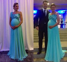 280c99f07c509 2018 New Maternity Evening Dresses Party Wear One Shoulder Applique Vestidos  De Novia Long Chiffon Prom Gowns for Pregnant Women