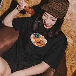 Men chicken online shopping - 18ss Box logo Hip Hop Chicken Dinner Tee Skateboard Cool T shirt Men Women Cotton Casual Cartoon T Shirt