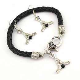 $enCountryForm.capitalKeyWord NZ - Drop Shipping Crystal Hockey Shape Design Charm Pendent Leather Chain Bracelet Earrings Set Jewelry For Women