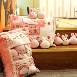 Best White Bags Australia - A bag of cute rabbit plush toy simulation snack pillow pink cherry rabbit plush pillow give the best holiday gift for children