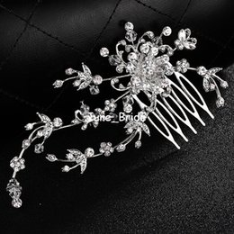 Price Hair Combs NZ - Free Shipping Crystal Floral Wedding Hair Comb Bridal Prom Party Jewelry Accessories Unique Headpiece for Bride Low Price but High Quality