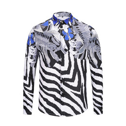 c87dcf4b4e615 Zebra Print Shirt Men UK - 2018 Designer Shirts Men Zebra Print Luxury  Casual Slim Fit