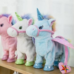 $enCountryForm.capitalKeyWord NZ - VIP Price 35cm Electric Walking Unicorn Plush Toy Stuffed Animal Toy Electronic Music Unicorn Toy for Children Christmas Gifts