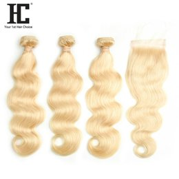 $enCountryForm.capitalKeyWord Australia - HC Brazilian Human Hair Hot Selling Blone 613 Body Wave Hair 3 Bundles With 4*4 Lace Closure Human Hair Weave Bundles 10-30 Inch
