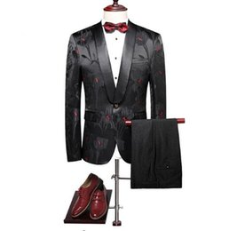 $enCountryForm.capitalKeyWord UK - Floral Suits Men 2018 Slim Fit Groom Wedding Suit Shawl Collar Tuxedo Jacket Pants Luxury Prom Party Stage Suit Q265
