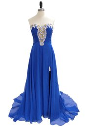 China Special Style Blue Dress for Prom Night Elegant Sweetheart Beaded Chiffon Floor Length Side Slit Prom Gown suppliers