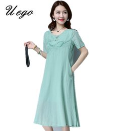 63d1227a73 Uego New fashion Embroidery floral vintage style dress soft cotton linen  short sleeve women summer dress plus size casual dress