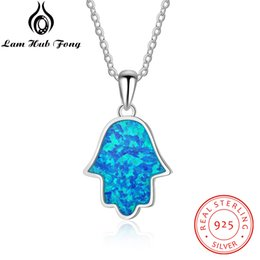 Discount chain 925 hand - Hamsa Hand Pendant Necklace for Women Blue Fire Opal Fatima Hand 925 Sterling Silver Necklace Amulet Women Jewelry(Lam H