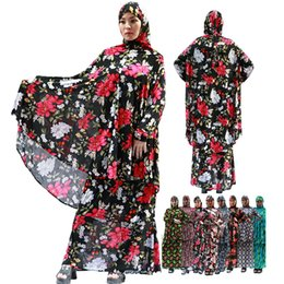 Wholesale 2018 New design Multicolor Small floral two piece hijab prayer abaya dress with maxi size