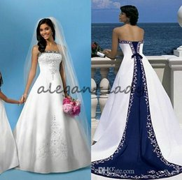 Wholesale strapless bandage wedding dress modern resale online – White And Blue Satin Wedding Dresses A Line Royal Bandage Women Embroidery Vintage Beach Bridal Gown Court Train Elegant Wedding Gowns
