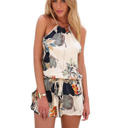 2d1555b8e100 Women s elegant sexy backless floral print jumpsuits short pants halter  neck Sleeveless Rompers Playsuit casual Plus size YF412