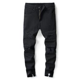 ebfbf7de50a 2018 Nouvellement Mode Jeans Haute Rue Slim Fit Jeans Déchiré Noir Couleur  Hip Hop Pantalon Cheville Zipper Ouvrir Punk Hommes