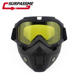 Discount helmet half face mask - 2018 Modular Mask Detachable Goggles And Mouth Filter Perfect for Open Face Motorcycle Half Helmet or Vintage Helmets