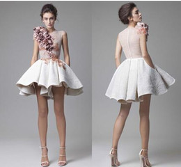 Modest Coral Party Dress Australia - New Krikor Jabotian Short Cocktail Dresses Striking Ruffles 3D Handmade Floral Appliques Party Dresses Evening Modest Stylish Vestidos
