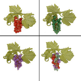 $enCountryForm.capitalKeyWord NZ - Jewelry Brooches For Women Vintage Brooch Purple Grape Green Leaf Branches Colorful Brooches Ladies Prooch Pins Set