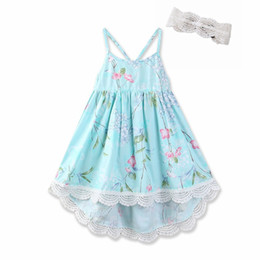 China 2018 Floral Printed Dresses for Girl Lace Slip dress Vintage High-waist Spaghetti strap Back cross straps Dress 100% cotton Boutique Summer cheap cross back lace dress suppliers