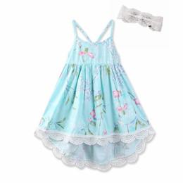Boat slips online shopping - 2018 Floral Printed Dresses for Girl Lace Slip dress Vintage High waist Spaghetti strap Back cross straps Dress cotton Boutique Summer