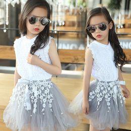 aea8a277 3-12Y niños niñas juegos de ropa adolescente verano traje niñas ropa de  encaje de algodón camiseta de encaje blusa + flor falda TUTU 2 unids / set