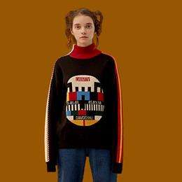 $enCountryForm.capitalKeyWord NZ - New Autumn Women Vintage Black Sweater Cotton Knitwear Pullover Knitted Tops Geometric Thicken Warm Sweaters Winter Turtleneck Y1891902