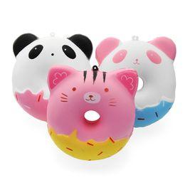 SquiShy donut keychain online shopping - Squishy cm Kawaii Gift Soft Panda Cat Doughnut Jumbo Squishy toy Cute Phone Straps Slow Rising Squishies Donut toy Keychain