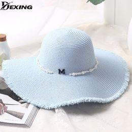 Men's Sun Hats Solid Color Pearls Sun Hats For Women Wide Brim Panama Beach Hat Summer Girls Bucket Caps Womens Flowers Bone Chapeu Feminino