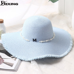 ba58c1e5d5790 Brim hats for men online shopping - 2018 Spring Summer sun Hats For Women  letters pearl