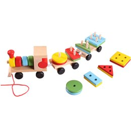 Stacking Blocks NZ - Models Building Toy Train Building Blocks Educational Kids Baby Wooden Solid Stacking Toddler Block Toy for Children Gifts