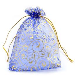 China 8SEASONS Organza Drawable Wedding Gift Bags&Pouches Royal Blue W Golden Flower Pattern 19.5x13.5cm,30PCs (B24396) suppliers