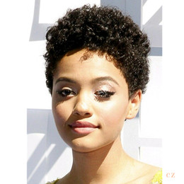 short afro kinky human hair Australia - Afro Kinky Curly Celebrity wig pixie cut glueless Pixie Cut Human Natural Hair Wig Rihanna Black Short Cut Wigs For Black Women