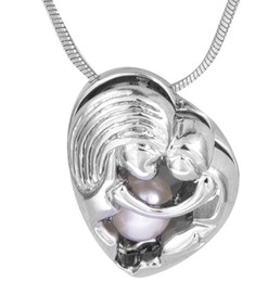 $enCountryForm.capitalKeyWord UK - Mother's day gift Silver Mother-daughter oyster pearl Cage Pendant novelty shape plated sliver cage Pendants Jewelry Gift P125