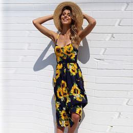 Art- und Weisesommer-böhmische reizvolle V-Ansatz Blumendruck-Kleid beiläufige ärmellose unregelmäßige Rüsche-Gurt-Strand-Minisonnen-Kleider im Angebot