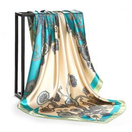 China Women's Red Paisley Vintage Square Head Scarfs 2018 New Lady's Euro Fashion Print Silk-Satin Hijab Shawl Wraps Scarves 90cm*90cm suppliers