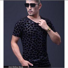 Mens Plus Size Silk Shirts Canada - t-shirt m - 5xl tshirt men Plus size men's summer ice silk short sleeve v-neck 3d t-shirt mens t shirts leopard design tee tops