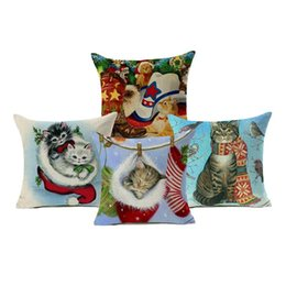 $enCountryForm.capitalKeyWord UK - Cute Christmas Stocking Kitten Cats Throw Pillow Covers Comfortable Modern Living Room Dining Chair Decorative Pillow Case