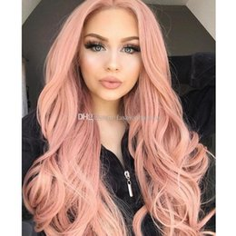Long hair sexy women online shopping - New Cosplay Wig Pink Color Long Wavy Wig Sexy Body Wave Fiber Hair Heat Resistant Gluelese Synthetic Lace Front Wigs for Black Women