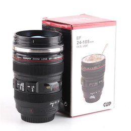 white camera cup NZ - Camera Lens Mug 400ml Creative Portable Stainless Steel Cups Travel Vacuum Flask Milk Coffee Mug Novelty Cups Wholesale 0703071