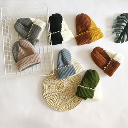Korean couple hat online shopping - Personalized color matching knit hat outdoor Korean version of the wild couple models wool hat winter new cold cover cap