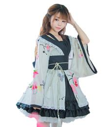 Chinese  Shanghai Story Blend Cotton Flower Printing Lace Edge Kimono Yukata Maid Dress Meidofuku Uniform Outfit Anime Cosplay Costumes manufacturers