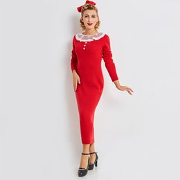 Autumn Women Red Patchwork Vintage Dress Pullover Ankle Length Party Dress  Wrist Sleeve O Neck Fall Sheath Bodycon Dresses 2f12e5accba5