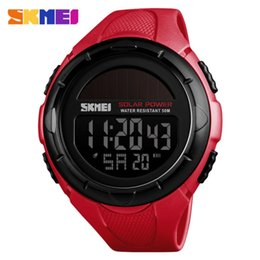 Chinese  Large Men Skmei Sport Wrist Watches Led Digital Solar Watch Silicone Strap Electronic Masculino Reloje 2018 Luxury Clock New manufacturers