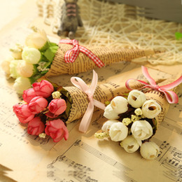 Plastic for bouquets online shopping - Hand Made Newspaper Flowers Plastic Mini Simulation Bouquet For Christmas Valentines Day Gift Flower For Wedding Decorations fm B